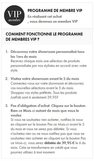 JustFab compte VIP abonnement